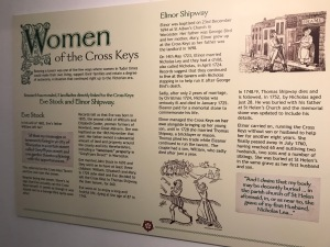 """Picture shows foamex display board saying """"Women of the Cross Keys"""" on display in the museum."""