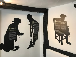 Picture shows 3 vinyls, silhouettes of Tudor children: Edward, Isabelle and Thomas.