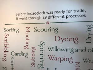 Image shows vinyls attached to wall in Broadcloth room depicting the 29 processes wool went through before becoming broadcloth.